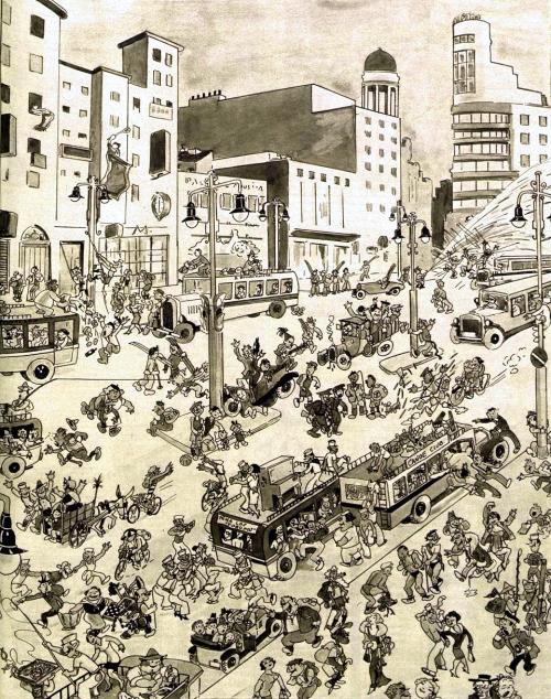 Madrid's Gran Vía, 1934 (drawing)