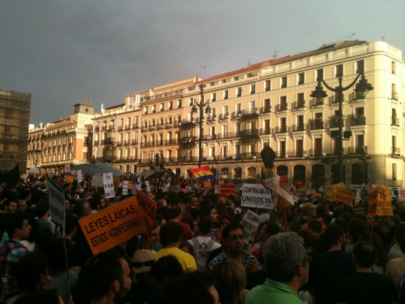 15M Anniversary in the Puerta del Sol, Madrid. May12, 2012