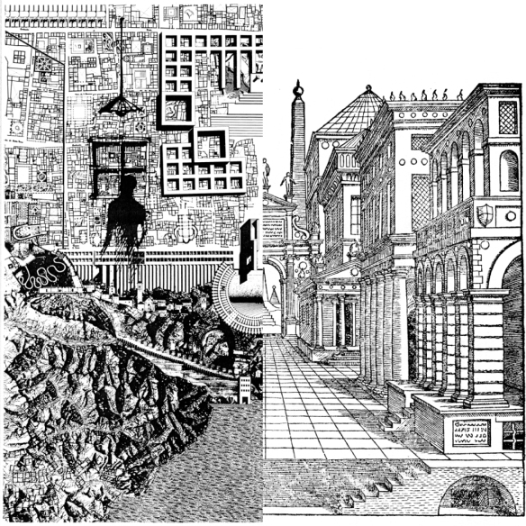 Montage of Rossi (1976) La città analoga; and Serlio (1545) Scena Tragica. On the left, Rossi places a standing figure into the city making clear that the city is the result of human labour, both manual and mental. On the right, Serlio emphasises the street as a public space defined by a wall of buildings.