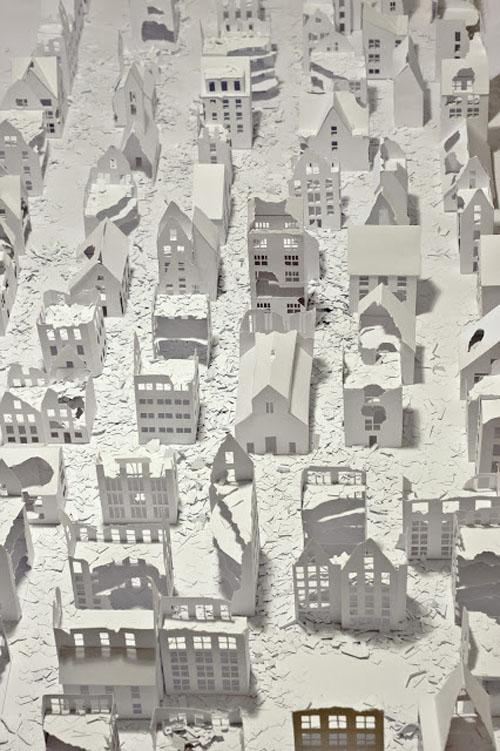 Installations of broken miniature paper houses by Daniele Del Nero (1)