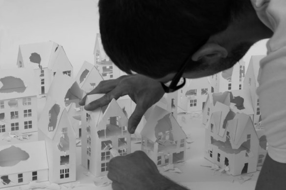 Installations of broken miniature paper houses by Daniele Del Nero (2)