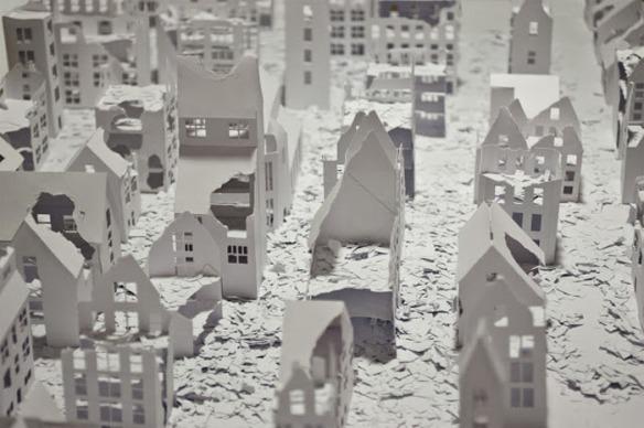 Installations of broken miniature paper houses by Daniele Del Nero (5)