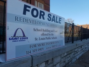 """For Sale"" sign at Euclid School"
