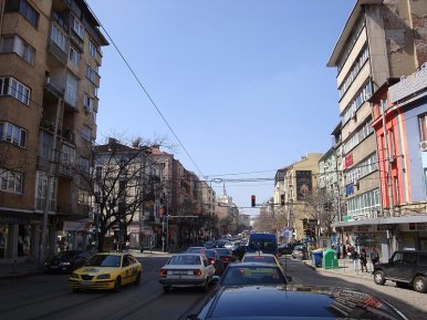Photo of current streetscape on бул. Княз Александър Дондуков (Courtesy of Old Sofia Blog)